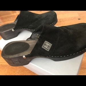 CHANEL Shoes - Chanel black suede clogs